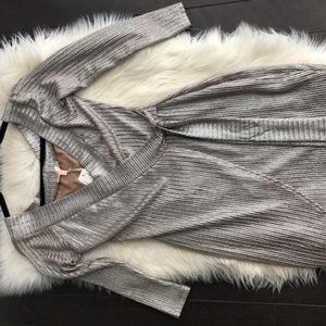 Luxxel Gold Metallic Wrap Night Out Dress